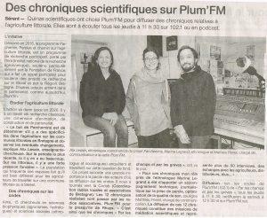 Parchemins et Plum'Fm sur Ouest France